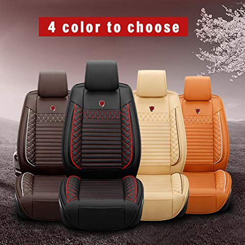 for Mercedes-Benz Universal 5-Seats Car Seat Covers PU Leather Waterproof Seats Cushion All Season Fit Most Car, Truck, SUV, or Van Front Seat+Rear Seat 5Pcs Standard Edition Beige