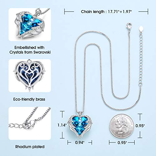 CDE Angel Wing Necklaces for Women Embellished with Crystals from Swarovski Pendant Necklace Heart Of Ocean Mothers Day Jewelry Gift for Wife