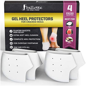 Heel Pain Relief Protectors [ Plantar Fasciitis Treatment ] 2 Pairs Foot Shoe Inserts for Achilles Tendonitis Tendon, Spurs, Fascia Support, Sore Feet, Bruised Foot Cracked Heels for Women and Men