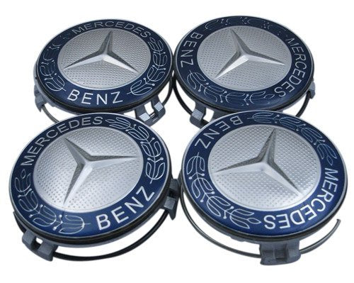 Mercedes-Benz four Blue Classic Logo Wheel Center Cap Set