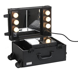 Sunrise Professional 2 Wheels Small Rolling Makeup Cosmetic Train Case with Mirror and Lights no Stand