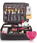 habe Extra Large Travel Makeup Bag - Crack-Proof Dividers – Ultra Big Professional Organizer Train Case Makeup Artists Bags for Women and Cosmetic Organizers Storage Box Cases (XL, Black, 16x12x5 in)