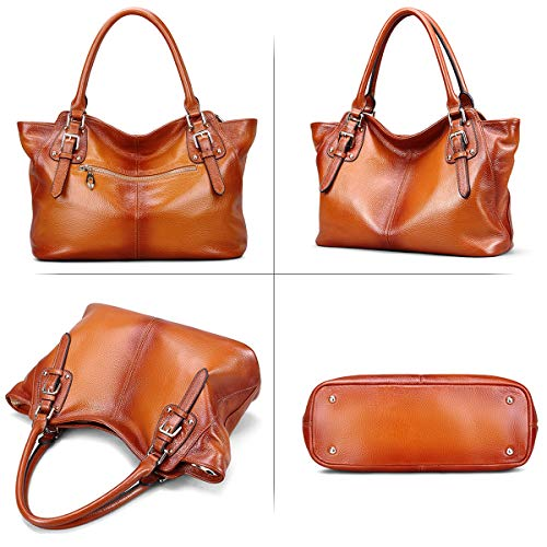 Women Vintage Genuine Leather Handbags DAIZU Shoulder Bag Large Capacity(brown)