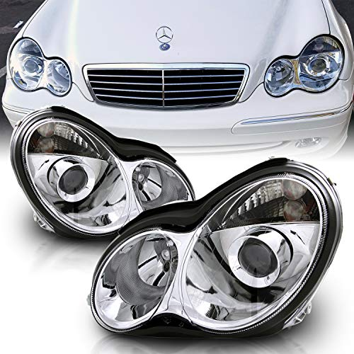 AmeriLite Projector Replacement Headlights Chrome for 01-07 Mercedes-Benz C Class W203 - Passenger and Driver Side