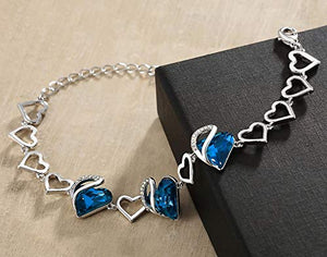 "Leafael Infinity Love Silvertone with Bermuda Sapphire Blue Crystal September Birthstone Women's Gifts Heart Bracelet, 7"" with 2"" Extender"