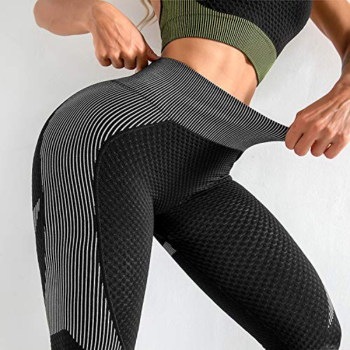 LASLULU Ruched Scrunch Butt Leggings for Womens Butt Lift Yoga Pants Slimming Booty Textured Workout Leggings Running Tights(Black White Medium)
