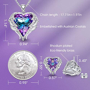 CDE Angel Wing Heart Mothers Day Jewelry Sets Gift Set for Women Pendant Necklaces and Earrings Anniversary Birthday Valentine's Day Jewelry Gifts for Women Love