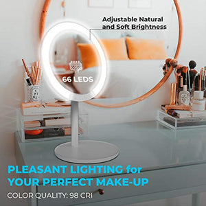 66 LED Makeup Mirror with Lights, Lighted Mirror, 7X Magnifying Mirror, Tricolor Lighting, Rechargeable, 180° Adjustable Rotation Portable Beauty Vanity Mirror Home Travel Birthday Gifts
