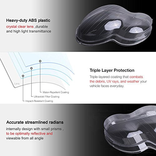 For Mercedes Benz Headlight Lens Replacement W203 C-Class C230 C280 C350 Car Plastic Shell Restoration Cover 2001-2007 (left + right)