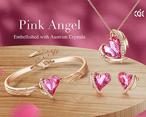 CDE Pink Angel Heart Jewelry Set Crystals Necklace Sets for Women Bracelet Earrings Necklaces Christams Gifts