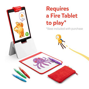 Osmo - Creative Starter Kit for Fire Tablet - 3 Educational Learning Games - Ages 5-10 - Creative Drawing & Problem Solving/Early Physics - STEM Toy Fire Tablet Base Included