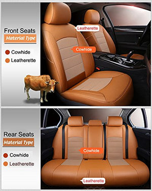 AutoDecorun 22pcs/Set Genuine Leather & Leatherette 7 Seats Covers for Mercedes Benz GLS450 GLS550 GLS350 GLS350d GLS400 GLS500 GLS320 Accessories Seat Cover Protectors 2016-2018 (Coffee X Beige)