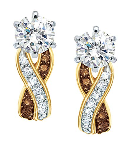 Mocha Swirl Diamonisse Earrings –14kt Gold-Plated – Simulated Diamonds –Perfect Gift for Yourself or a Special Someone #1010-003