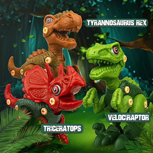 Sanlebi Take Apart Dinosaur Toys for Boys - Building Toy Set with Electric Drill Construction Engineering Play Kit STEM Learning for Kids Girls Age 3 4 5 Year Old