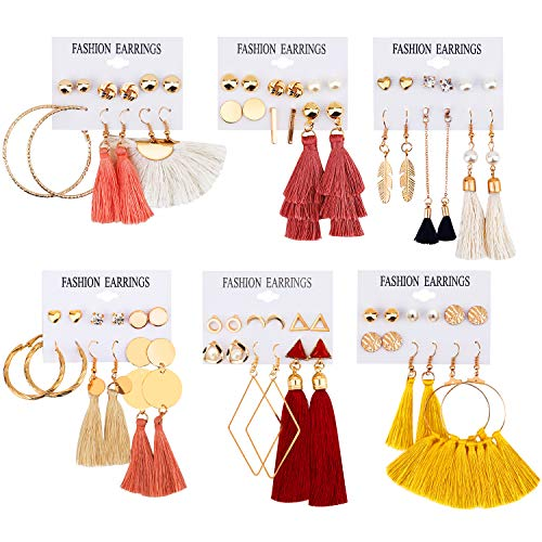 JACEDOFU 36 PairsTassel Earrings Layered Long Thread Ball Dangle Earrings Stud Earring Bohemian Tiered Tassel Drop Earrings Fashion Jewelry for Women Girls Valentine Birthday Party Gifts