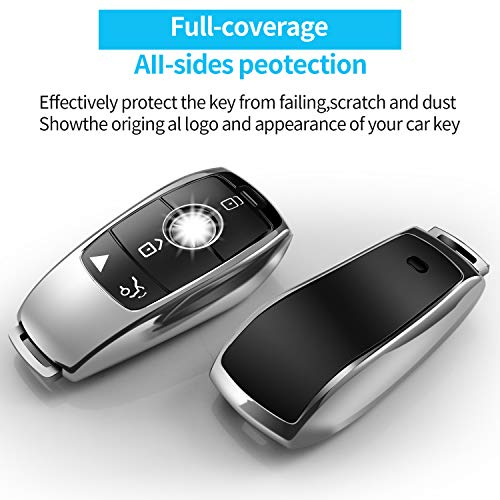 Tukellen for Mercedes Benz key fob cover,Special Soft TPU Key Case Protector Compatible with Mercedes Benz 2017-2021 E-Class 2018-2021 S-Class 2019-2021 A-Class C-Class G-Class-Silver…