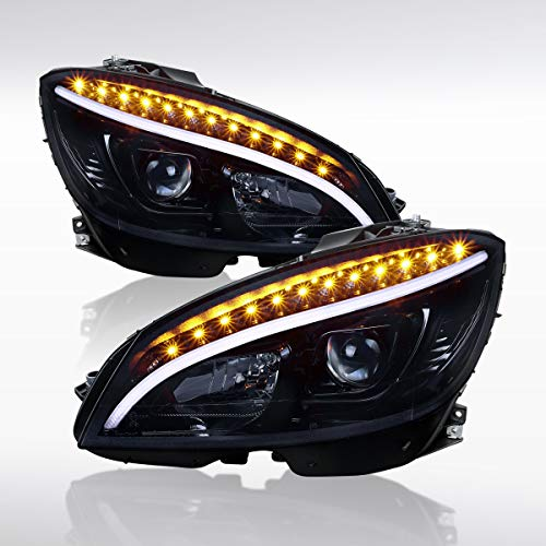 Autozensation For Mercedes Benz W204 C-Class Glossy Black LED Projector Headlights Pair