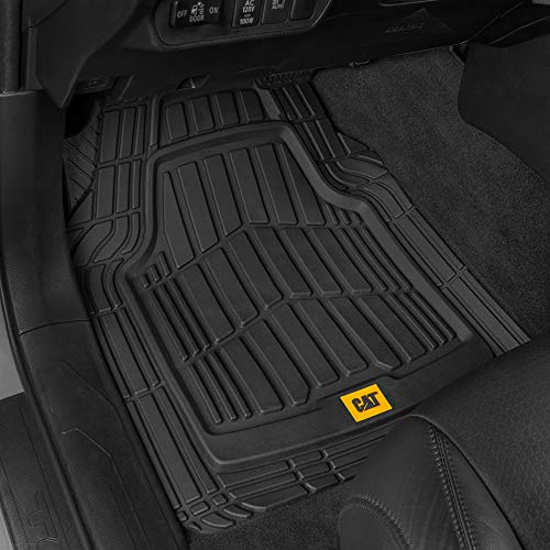 Caterpillar CAT (3-Piece) Deep Dish Heavy Duty Odorless Rubber Floor Mats, Total Protection Durable Trim to Fit Liners for Car Truck SUV & Van, All Weather, 01-Black (CAMT-1003-BK)