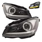 HEADLIGHTSDEPOT Black Housing Halogen DRL Headlights Projector w/LED Bar Compatible with Mercedes-Benz C250 C300 C350 C63 AMG Includes Left Driver and Right Passenger Side Headlamps