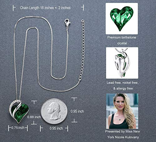 "Leafael Infinity Love Heart Pendant Necklace Emerald Green May Birthstone Crystal Jewelry Gifts for Women, Silver-Tone, 18""+2"""