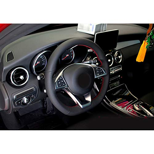 HCZSZH Car Accessories PU Hand Stitched Car Steering Wheel Cover, for Mercedes Benz C Class C205 C180 C200 C400 C250 Coupe