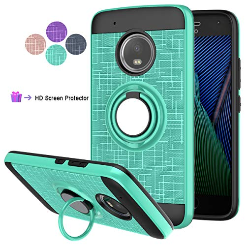 LDStars Compatible for Moto G5 Plus Phone Case,Moto X 2017 Case, [HD Screen Protector] TPU & PC Heavy Duty Shockproof Protective Cover with Rotatable Ring Stand-Mint Green
