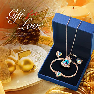CDE 18K Rose Gold Women Jewelry Set Heart Love Crystals Birthday Gifts Necklace and Earrings Bracelets
