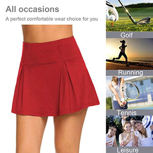 UMINA Active Skort Women Athletic Tennis Skorts for Running Golf Workout Wine Red