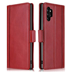 ProCase Galaxy Note 10 Plus Case Flip/Note 10+ 5G Genuine Leather Case,Vintage Wallet Folding Magnetic Protective Cover with Kickstand Card Holders for Galaxy Note 10+ / Note 10 Plus /5G 2019 -Red
