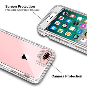"iPhone 8 Plus Case, iPhone 7 Plus Case, Anuck Crystal Clear 3 in 1 Heavy Duty Defender Shockproof Full-Body Protective Case Hard PC Shell & Soft TPU Bumper Cover for iPhone 7 Plus/8 Plus 5.5"" - Clear"