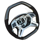 G Wagon Carbon Fiber Steering Wheel - for Mercedes-Benz G-Class W463 G500 G550 G63 AMG G65 AMG - ML W166 - GL X166 – Black Alcantara - Yellow Stitching - Paddle Shifters