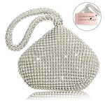TOPCHANCES Mini Size Women's Evening Clutch Bag Triangle Full Rhinestones Party Prom Wedding Purse Carrying (Sliver)