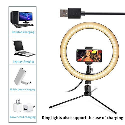 "LED 10.2"" Desktop Selfie Ring Light with Tripod Stand & Remote Control &10 Brightness Level & 3 Light Modes and 120 Bulbs 5500k for YouTube Video/Live Stream/Makeup/Photography for iPhone Android"