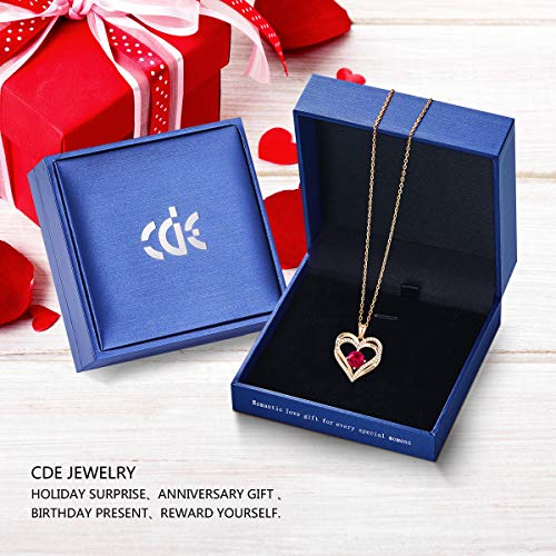 CDE Forever Love Heart Necklace 925 Sterling Silver Rose Gold Plated January Birthstone Pendant Necklaces for Women with 5A Cubic Zirconia Jewelry Birthday Gift
