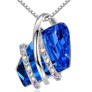 "Leafael Mother's Day Gifts Wish Stone Silvertone Crystal Pendant Necklace Sapphire Blue September Birthstone, 18""+ 2"" Extender"