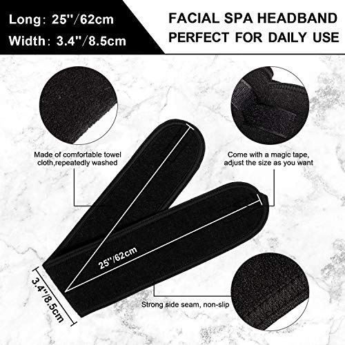 Whaline Spa Facial Headband Make Up Wrap Head Terry Cloth Headband Adjustable Towel for Face Washing, Shower, Facial Mask, 3 Pieces (White, Black, Pink)