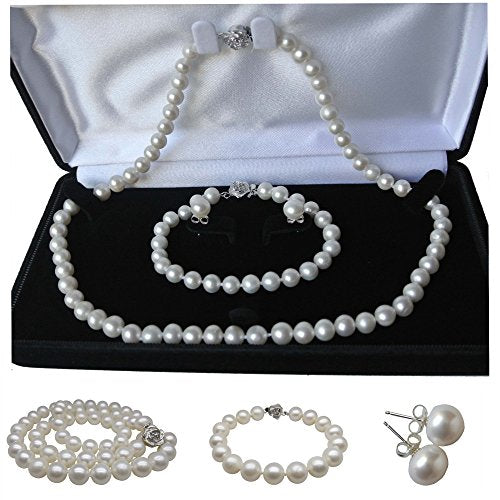 "Pearl Romance 20"" inch 3pc Set Cultured Round White Strand Pearl Necklace Bracelet Stud Earrings Genuine Freshwater 6mm 7mm 8mm 9mm 10mm 11mm (6.0-6.5mm)"