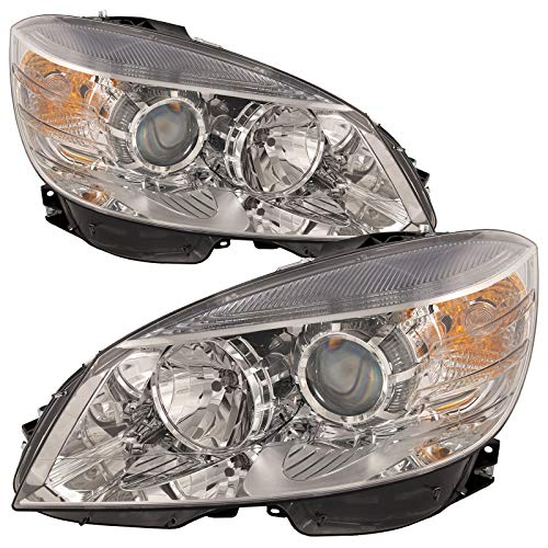 PERDE Chrome Housing Halogen with Performance Lens Headlights Compatible with Mercedes-Benz C300 C350 C63 AMG From Build Date 2-9-08 To 2011 C-Class W204 Includes Left and Right Side Headlamps