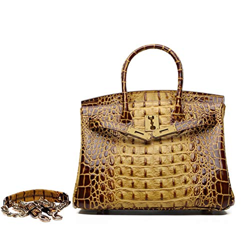 Crocodile Grain Genuine Leather Satchel Bag Women's Cowhide Handbags Chain Shoulder Messenger Bags Woman (35#=35cm18cm26cm, Brown)