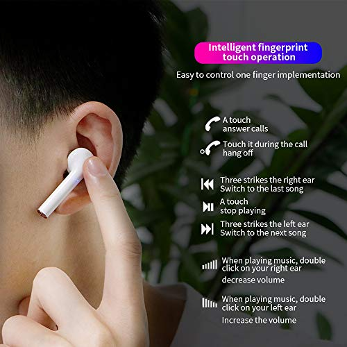 Bluetooth 5.2 True Wireless Earbuds Headphone with Led Display Charging Case Waterproof Earbuds 40 Hours Playtime Built-in Microphone Earbuds HiFi Premium Sound with Noise Cancelling for Sport,White