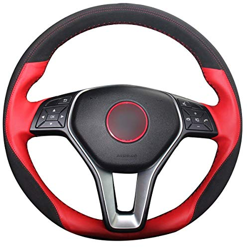 Loncky Genuine Steering Wheel Covers for Mercedes Benz CLS550 CLA250/Mercedes Benz E250 E350 E400 E550/Mercedes Benz GLA250 GLK250 GLK350 /C250 C300 C350/ B250e B-Class Electric Accessories