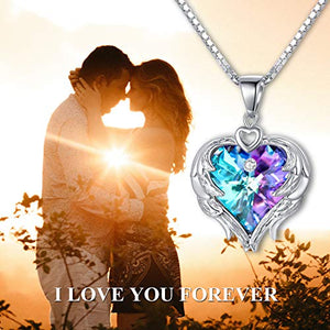 AOBOCO 925 Sterling Silver Angel Wings Heart Pendant Necklace with Swarovski Crystal, Romantic Anniversary Jewelry for Women Wife Her