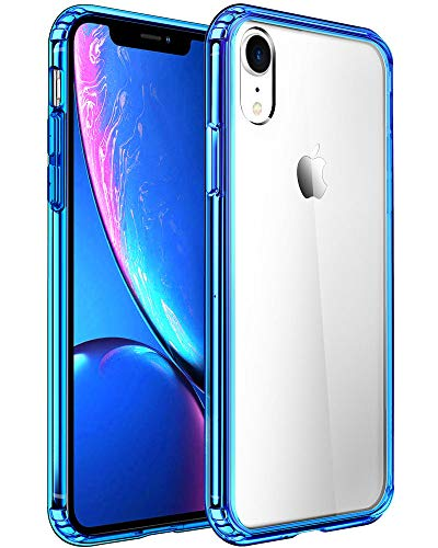 Mkeke Compatible with iPhone XR Case,Clear Anti-Scratch Shock Absorption Cover Case for iPhone XR Blue