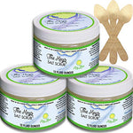 The Keys Salt Scrub : Premium Exfoliating Sea Salt Body Skin Scrubs - Made with Pure Florida Sea Salt and Organic Coconut Oil + FREE Wooden Spoon (Key Lime, Bulk 3 Pack 12 oz)