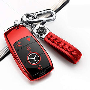 Autophone for Mercedes Benz Key Fob Cover with Keychain,Soft TPU 360 Degree Protection Key Case Compatible with Mercedes-Benz 2019-2021 A-Class C-Class G-Class 2017-2021 E-Class S-Class (Red)