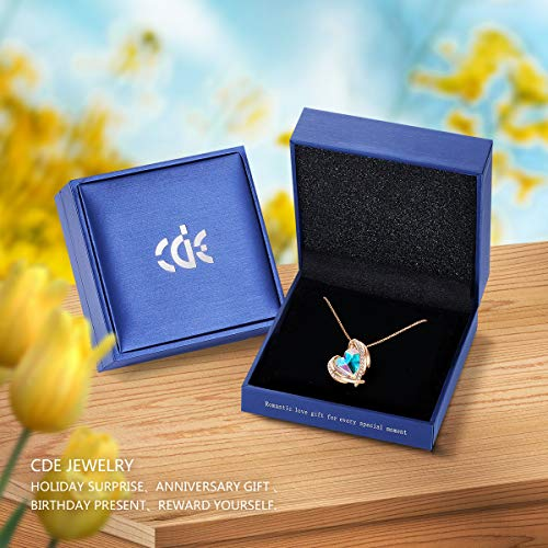 CDE Love Heart Pendant Necklaces for Women Silver Tone Rose Gold Tone Crystals June Birthstone Jewelry Gifts for Party/Anniversary Day/Birthday