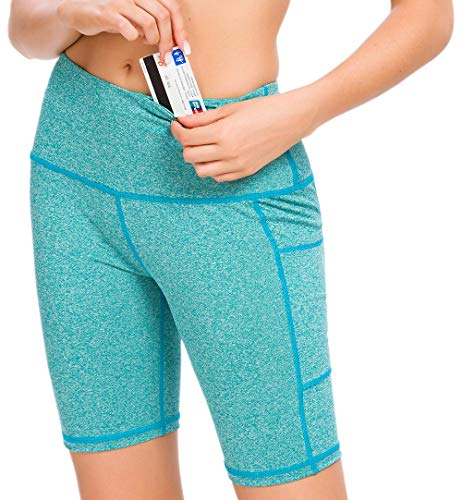 Custer's Night High Waist Out Pocket Yoga Short Tummy Control Workout Running 4 Way Stretch Yoga Leggings (ArmyGreen, S)