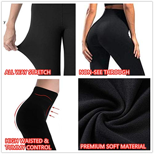 yeuG High Waisted Solid Leggings for Women -Super Soft Full Length Opaque Slim Pants for Running Cycling Yoga Workout (3 Pack - Black3, Small - Medium)