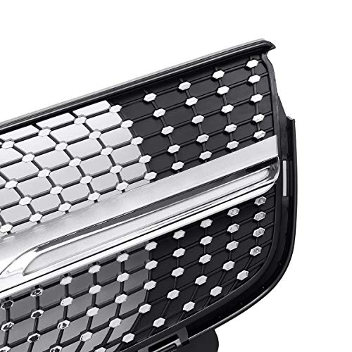 Ybriefbag-Accessories Silver Diamond Grille Front Grill Compatible with Mercedes-Benz X164 GL-Class GL450 GL350 GL320 (Color : Silver, Size : M)