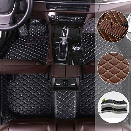 Car Floor Mat For Mercedes Benz GLS 320 350 400 450 500 4Matic 2016-2019 All Full Coverage Liner All Weather Waterpoof Non-Slip Leather Heavy Duty Custom Front Rear Mat Left Drive Black and Beige